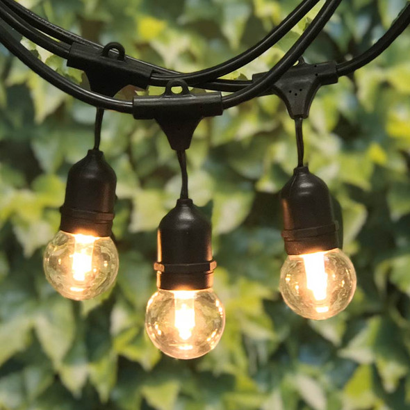 100' Black Outdoor String Lights Suspended Socket with Plastic LED G50 Professional Bulbs