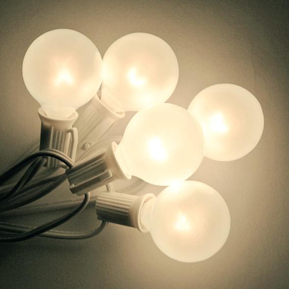 White C7 String Light with White Satin G40 Bulbs