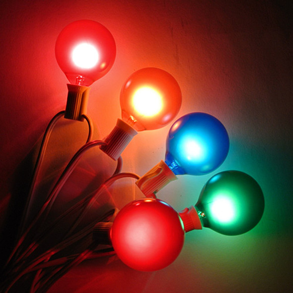 White C7 String Lights with Multi Satin G50 Bulbs