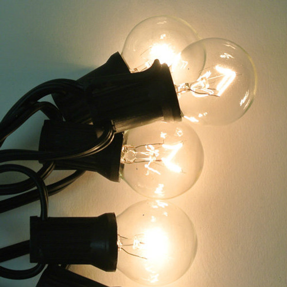 Black C7 String Light with Clear G30 Bulbs