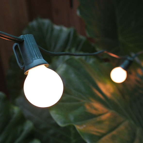 Green C7 String Light with White Satin G30 Bulbs feature