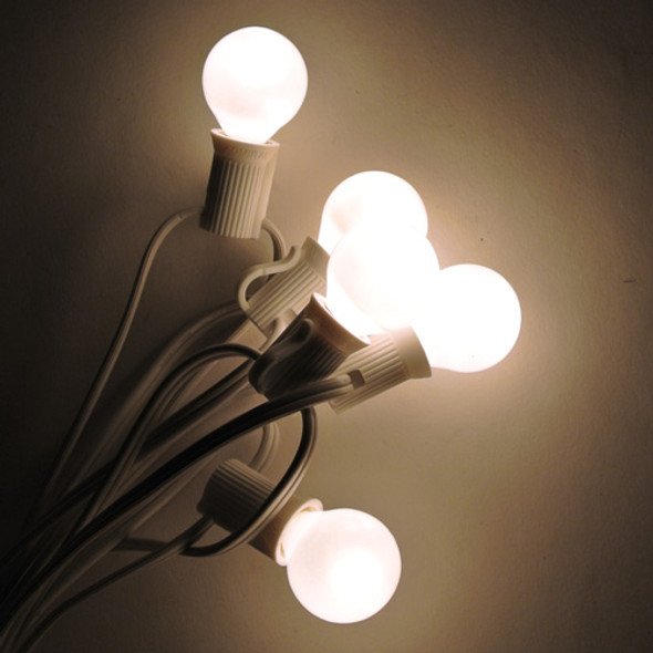 White C7 String Light with White Satin G30 Bulbs