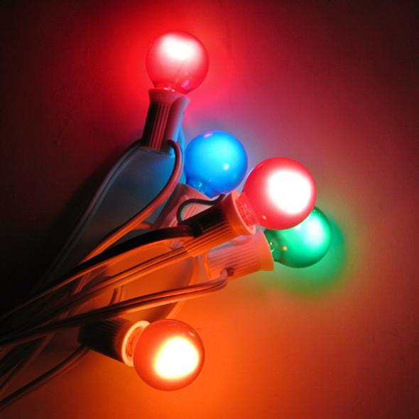 White C7 String Light with Multi Satin G30 Bulbs