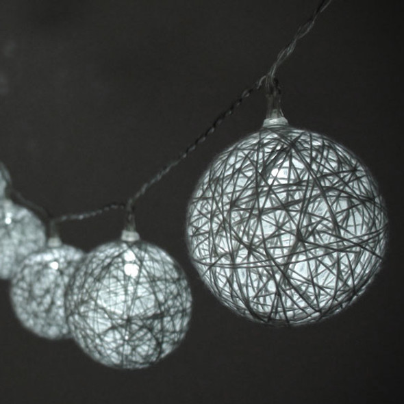 Cotton Ball String Lights Closeup