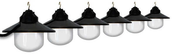 White Awning Lights with Black Shade - 6 lights
