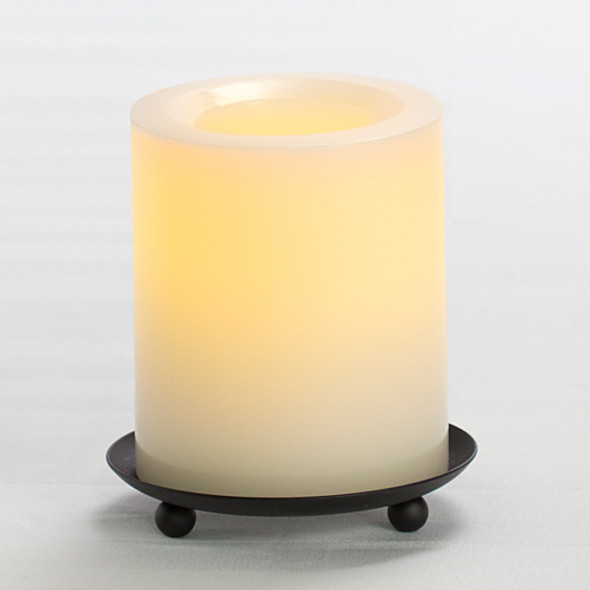 "Wax Pillar Battery Operated Candle - 4"" Cream"