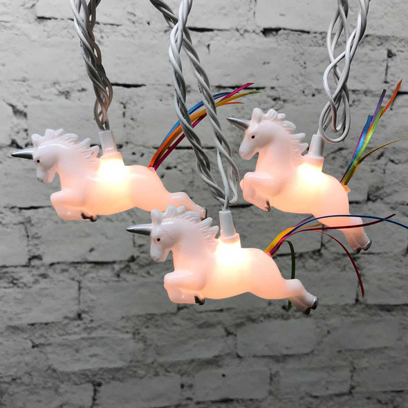 Unicorn Party String Lights lit