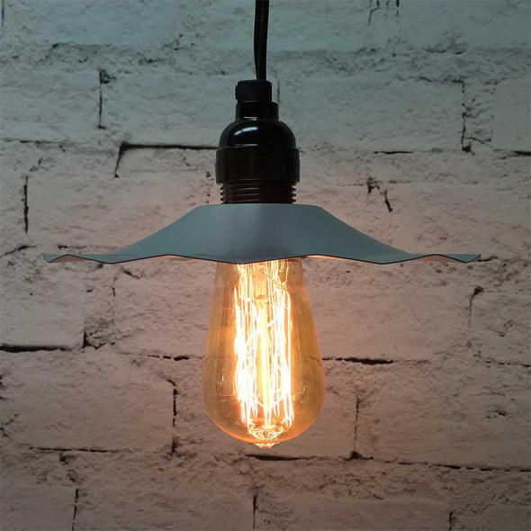 Pendant Light Set with Galvanized Shade & 2125 Vintage Edison Bulb