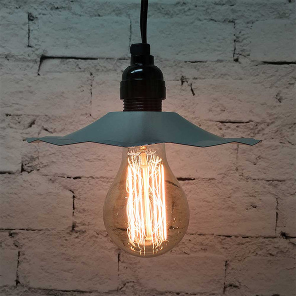 Pendant Light Set with Galvanized Shade & A75 Vintage Edison Bulb
