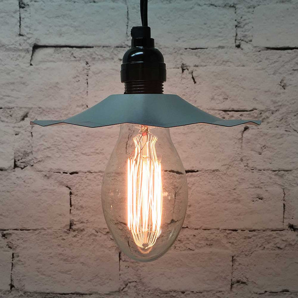 Pendant Light Set with Galvanized Shade & E75 Vintage Edison Bulb