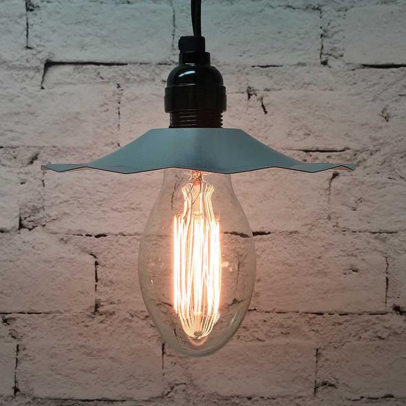 Pendant Light Set with Galvanized Shade & E75 Vintage Edison Bulb