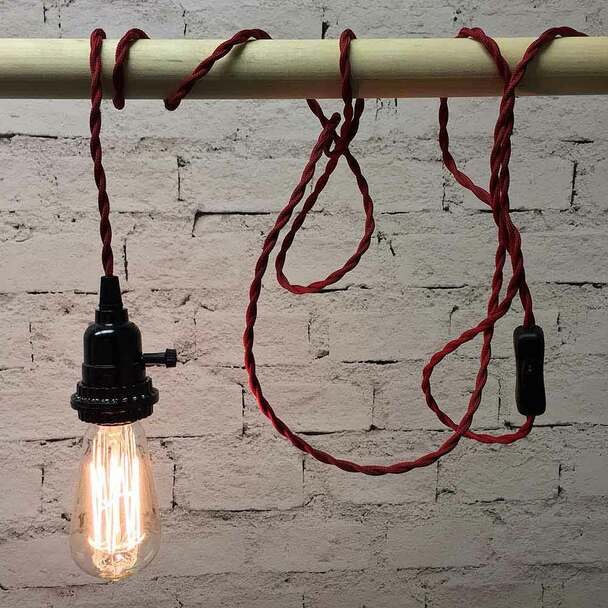 Red Pendant String Light with ST58 Edison Bulb
