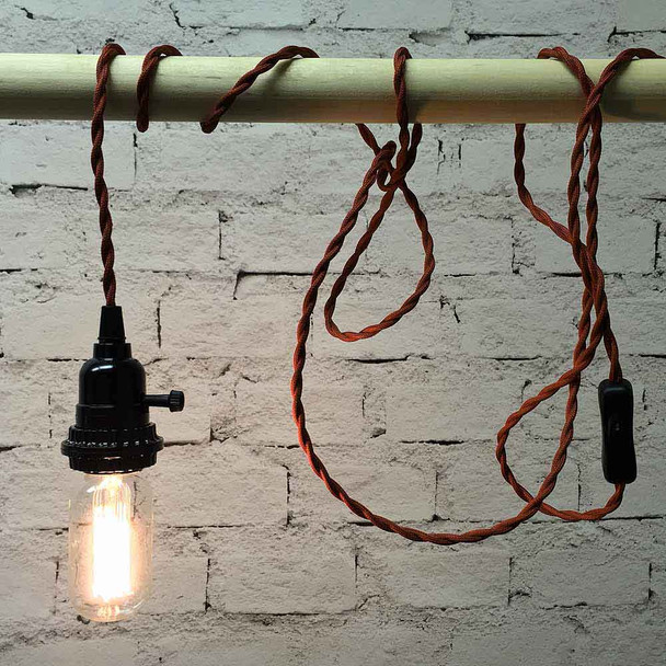 Red Pendant String Light with T14 Edison Bulb