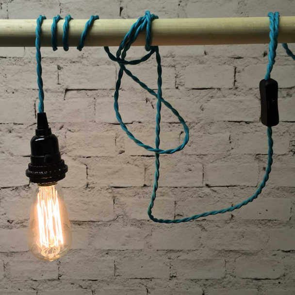 Turquoise Pendant String Light with ST58 Edison Bulb