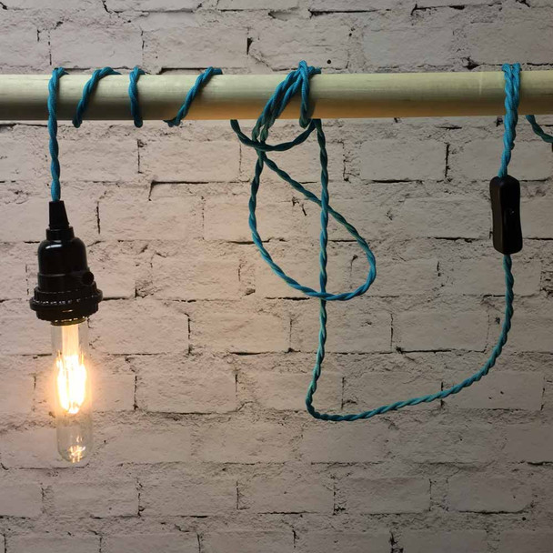 Turquoise Pendant String Light with LED T9 Vintage Bulb