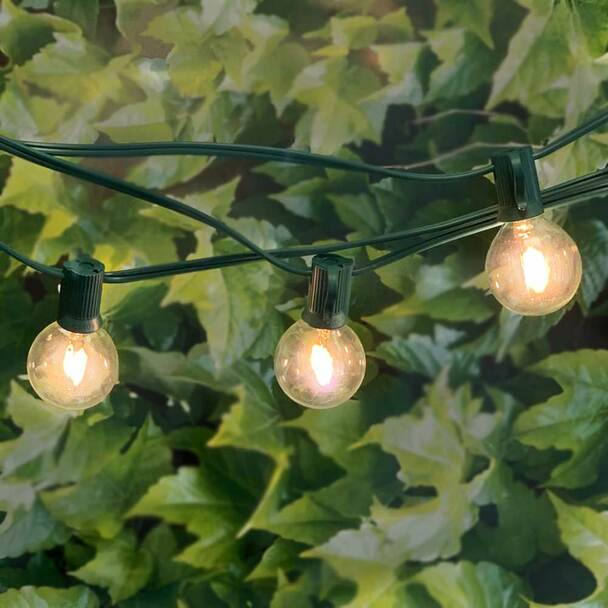 100' Green C7 String Light with LED G40 Vintage Bulbs