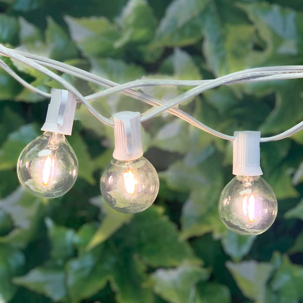 100' White C7 String Light with LED G40 Vintage Bulbs