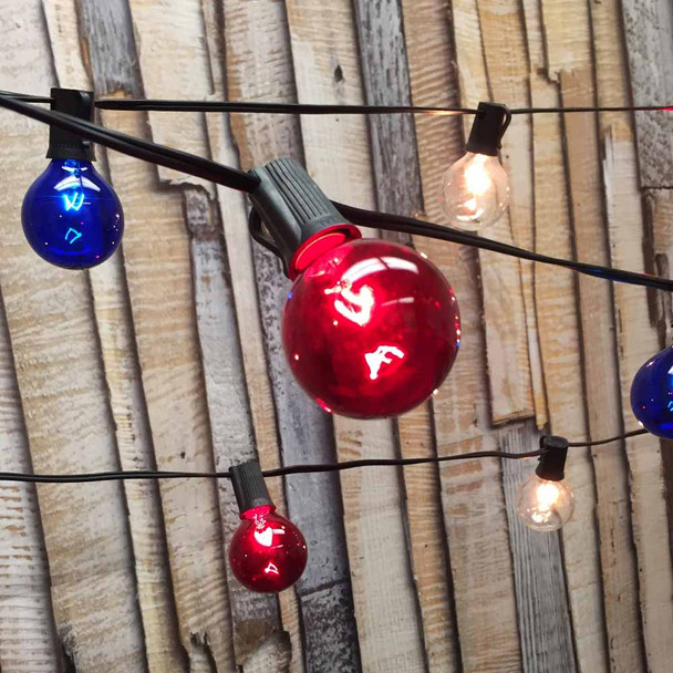 Globe String Lights with Red, White and Blue G50 Bulbs