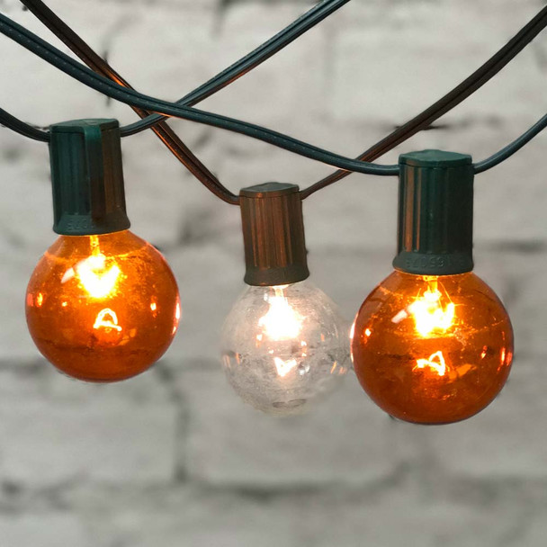 Amber & White Globe String Lights with G50 Bulbs