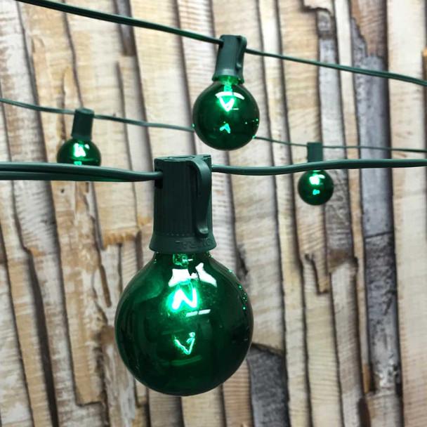 Globe Patio Lights with Green G50 Bulbs