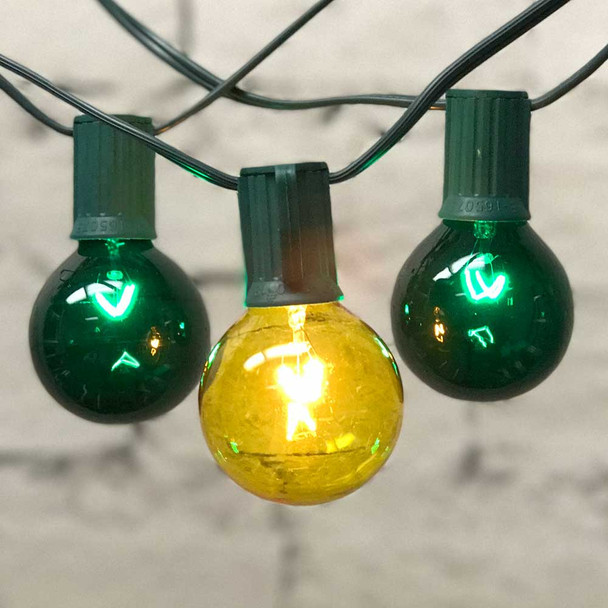 Globe Patio Lights with Green & Yellow G50 Bulbs
