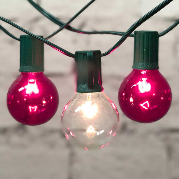 Globe Party Lights with Pink & Clear G50 Bulbs