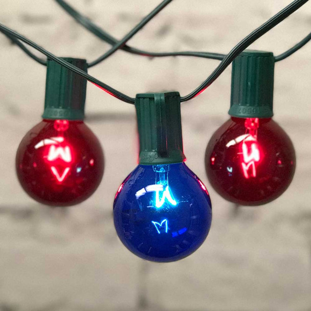 Red & Blue Globe Party Lights with G50 Bulbs