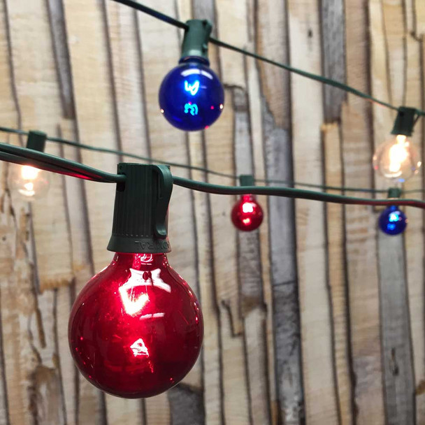 Patriotic Globe Party Lights with Red, White & Blue G50 Bulbs