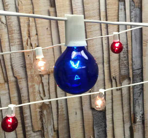 Red, White & Blue Globe String Lights with G50 Bulbs and White Cord