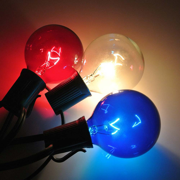 Red, White & Blue G50 Bulbs with C9 Base
