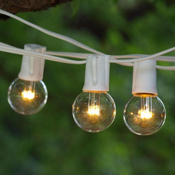 25' C9 LED White String Lights with Premium LED G40 Bulbs