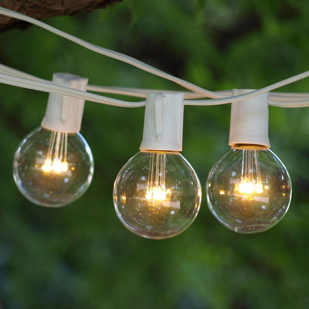 25' White LED String Lights with Premium LED G50 Bulbs