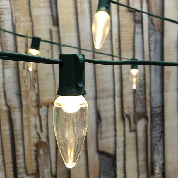 50' Green C9 String Light & LED C9 Bulbs