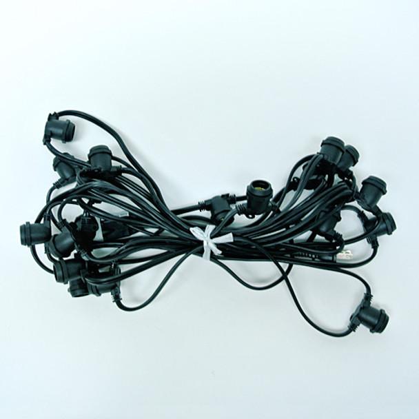 25' Black Commercial C9 String Light Cord