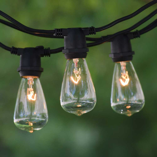 100' Black C9 Commercial String Light with Clear C9 Vintage Bulbs