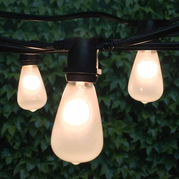 100' Black C9 Commercial String Light with Frosted C9 Vintage Bulbs