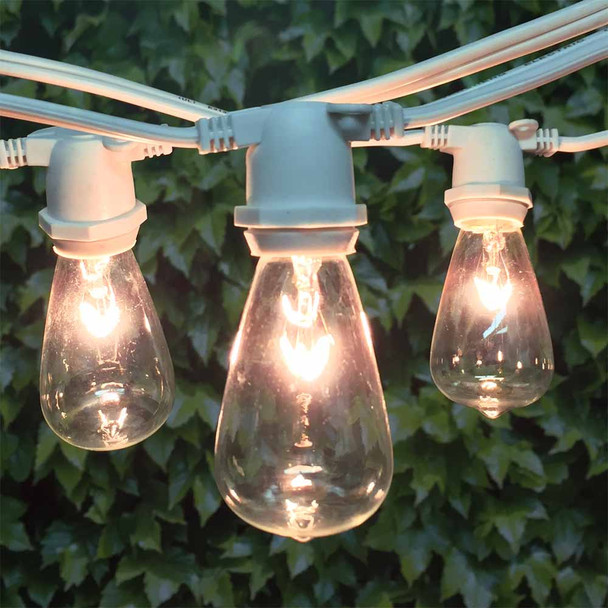 100' White C9 Commercial Grade String Light with C9 Vintage Bulbs