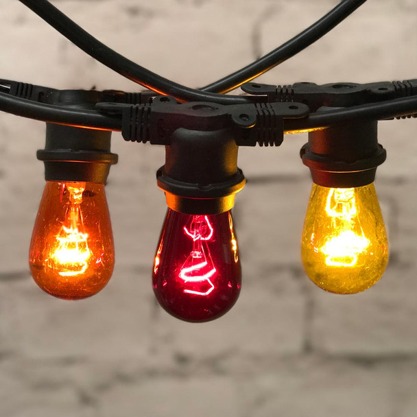 48' Fall Outdoor String Lights with 11s14 red, amber, yellow bulbs