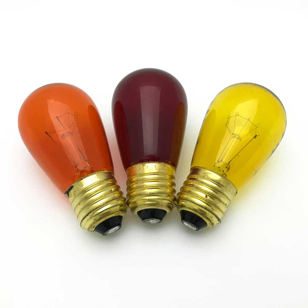 Fall Colored S14 Sign Bulbs - Red, Amber, Yellow