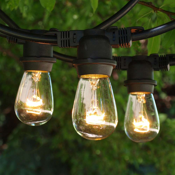 48' Black Outdoor String Light & S14 Clear Bulbs