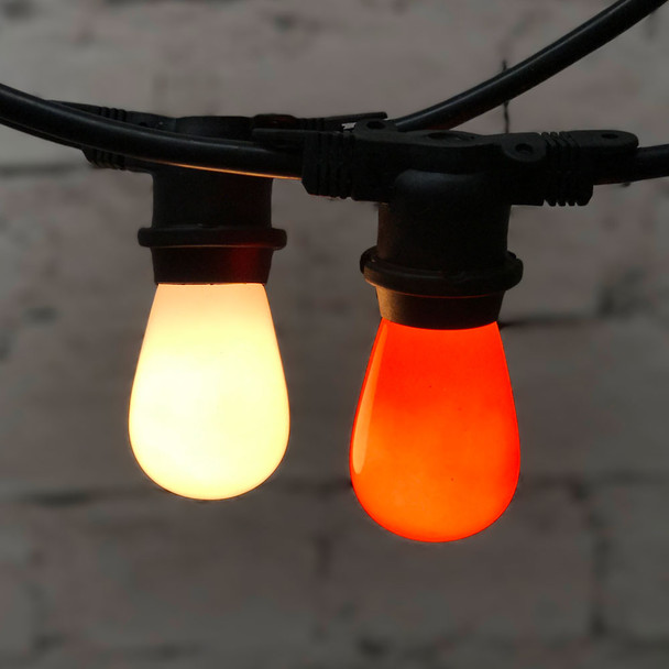 48' Black Commercial String Light & Opaque S14 Amber & White Bulbs