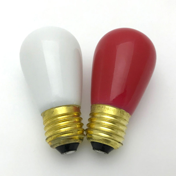 S14 Sign Bulb, Opaque Red & White