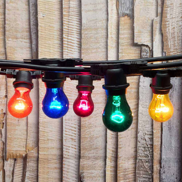 48' Black Commercial String Light & Multi Color A15 Bulbs