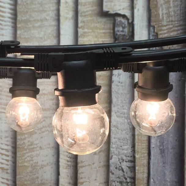 48' Black Outdoor String Light & G50 Bulbs