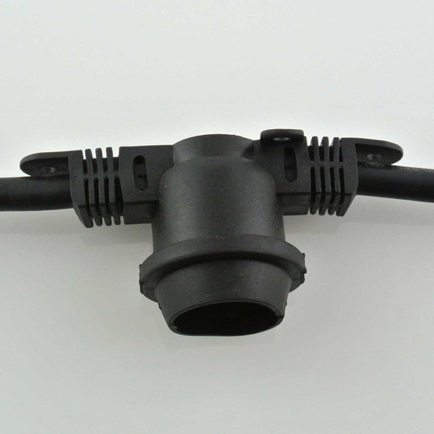 48' Black Commercial String Light Socket