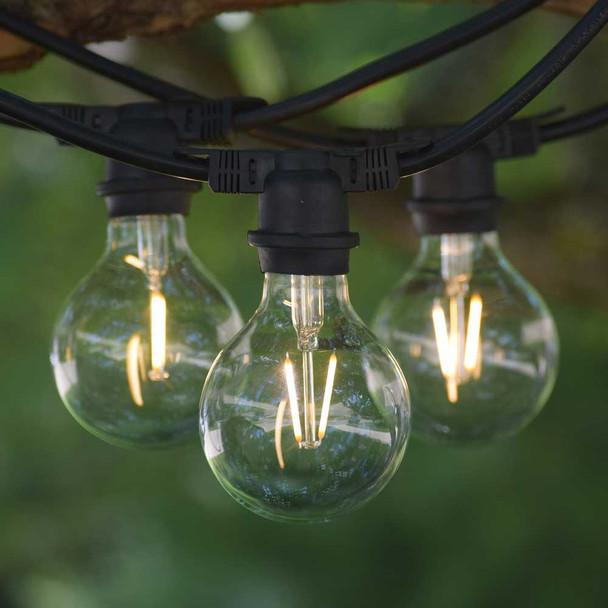 48' Black Vintage String Light & LED G80 Vintage Bulbs