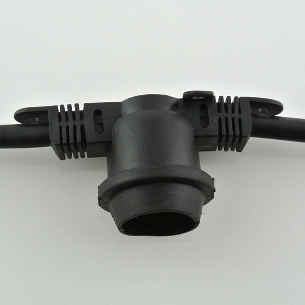 48' Black Commercial String Light Socket