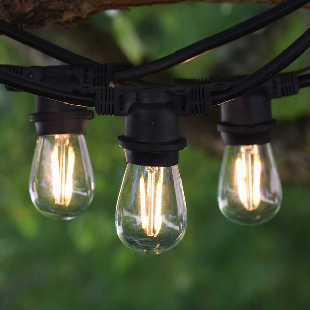 48' Black Vintage Outdoor String Lights & LED S14 Vintage Bulbs