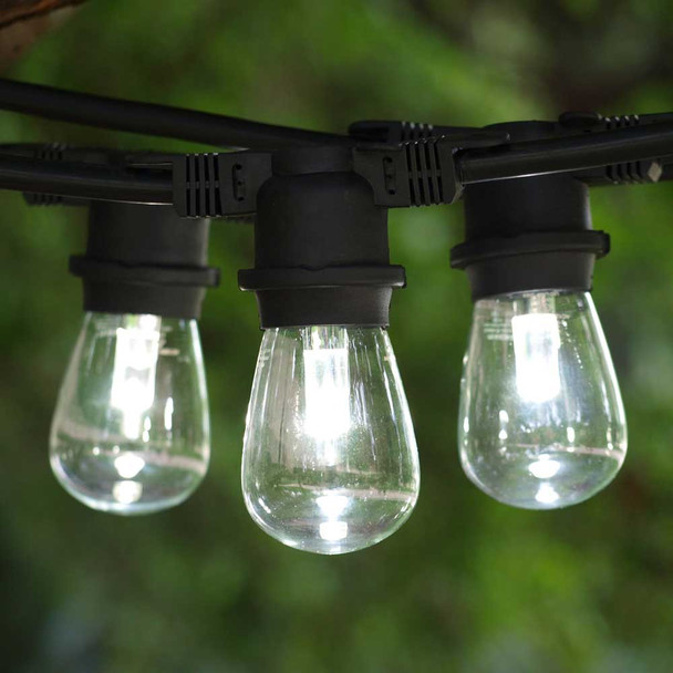 Black Outdoor String Light & Professional LED S14 Bulbs, Cool White