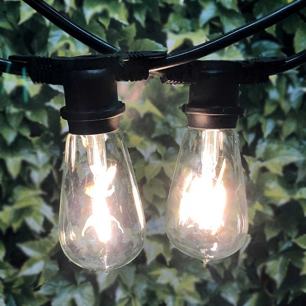 LED Vintage Outdoor String Lights with ST18 Bulbs